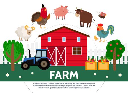 Flat farming template with barn trees sheep turkey pig bull hen butterfly tractor crates of fruits and vegetables isolated vector illustration Illustration