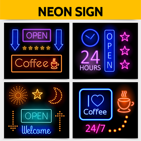 Modern digital advertising neon signs concept with bright glowing frames colorful inscriptions illuminated stars arrows sparkles moon shiny coffee cups isolated vector illustration Illustration