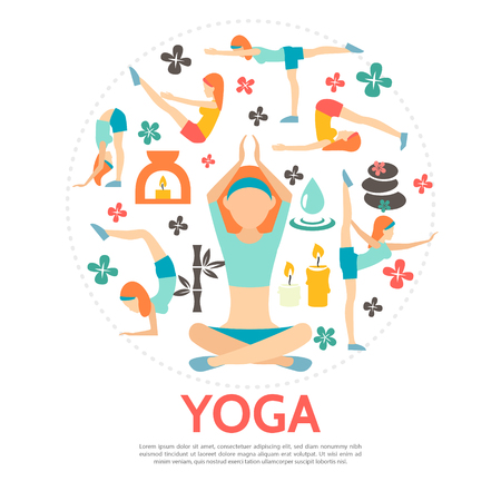 Flat yoga round concept with women in different poses bamboo spa stones candles flowers and water drop isolated vector illustration