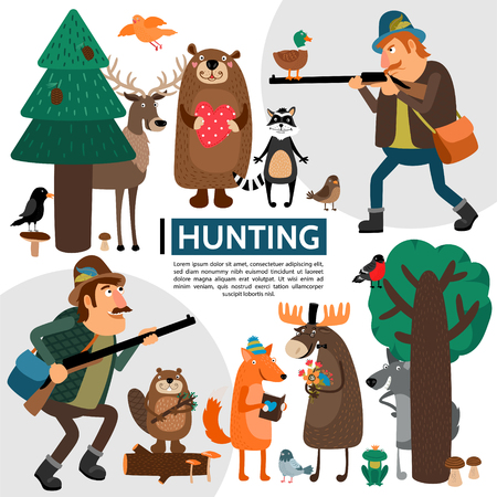 Flat hunting composition with hunters elk deer bear raccoon birds fox frog wolf beaver in forest vector illustration