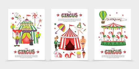 Flat circus posters with strongman clown magician acrobat tent carousel magic wand umbrella tickets ice cream popcorn hot air balloon vector illustration