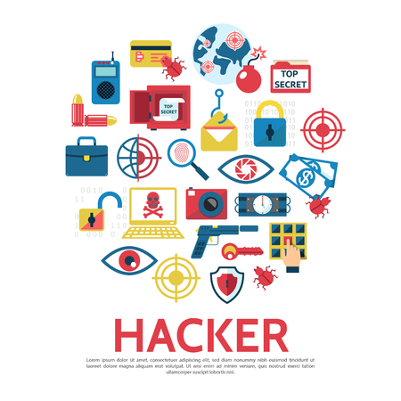 Flat hacking round concept with safe hacker bug lock laptop money dynamite bomb key pistol shield fingerprint eye scanning remote control isolated vector illustration