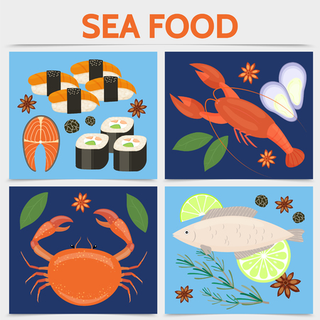 Flat seafood square concept with crab fish lobster salmon steak sushi rolls black caviar rosemary branch lime slices star anise isolated vector illustration