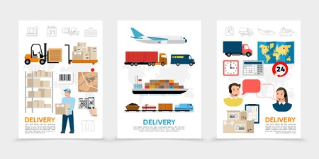Flat delivery posters with warehouse worker forklift packages world map calendar operators train van truck ship airplane transportation vector illustration