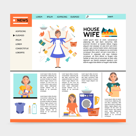 Flat housewife website template with super mom doing different household activities ironing shopping washing affairs and mother with baby vector illustration