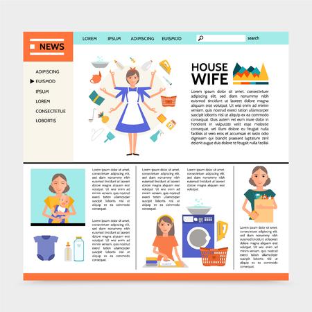 Plantilla de sitio web de ama de casa plana con super mamá haciendo diferentes actividades domésticas, planchado, compras, lavado y madre con ilustración de vector de bebé