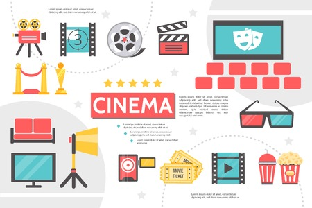 Flat cinematography infographic template with movie camera filmstrip clapboard film reel cinema hall projector tickets soda popcorn award red carpet vector illustration