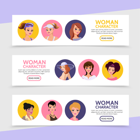 Flat woman characters avatars horizontal banners with ladies and girls with different hairstyle wearing clothes for various situations vector illustration