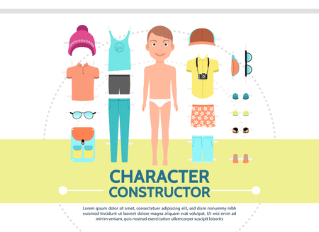 Flat male character creation set with young man summer clothing cap sunglasses backpack sneakers slippers camera isolated vector illustration