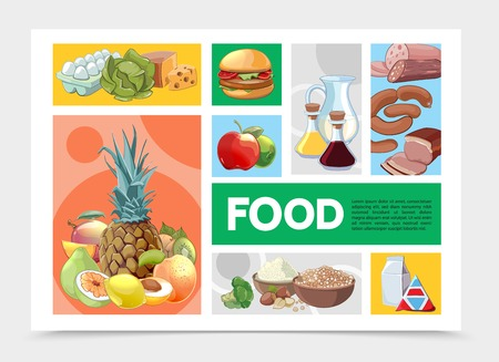 Cartoon colorful food infographic template with fruits vegetables eggs cheese burger meat sausage cereals nuts milk soy sauce olive oil vector illustration