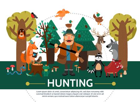 Flat hunting template with smiling hunter squirrel fox reading book different birds frog snake lizard raccoon wolf deer wild boar in forest vector illustration Illustration