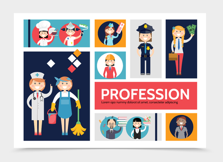 Flat profession characters infographic template with doctor maid chef painter stewardess waitress accountant stylist teacher police officer engineer vector illustration
