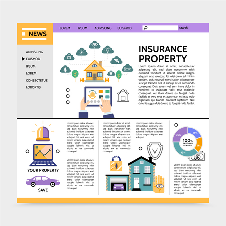 Property insurance service landing page concept with navigation menu estate garage car lock siren laptop diagram text in flat style vector illustration