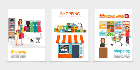 Flat shopping brochures with women buying products store money seller cash register bags payment card shelves of vegetables and fruits isolated vector illustration
