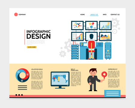 Flat infographic design landing page concept with navigation menu buttons chart diagrams map businessman holding pin and man working on computer vector illustration