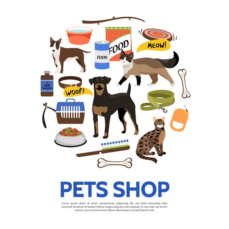 Flat pet shop concept with dog cat animal food carrier house collar leash bowl bone comb isolated vector illustration