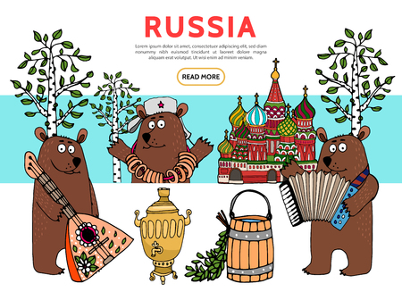 Flat travel in Russia template with bears playing accordion balalaika st basil cathedral wooden tub samovar birch trees vector illustration