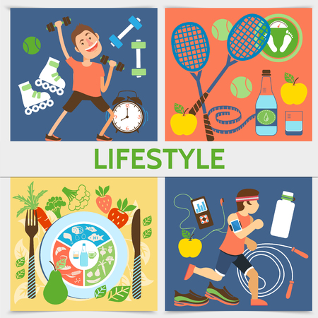 Flat active lifestyle square concept with fitness people sport equipment and healthy food vector illustration Ilustração