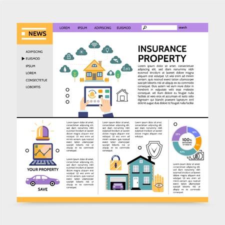 Property insurance service landing page concept with navigation menu estate garage car lock siren laptop diagram text in flat style vector illustration