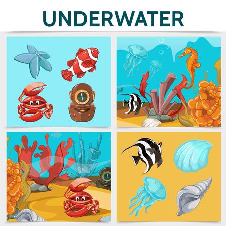 Cartoon underwater life square concept with crab fish seahorse starfish shells jellyfish diver helmet seaweed corals algae isolated vector illustration Illustration