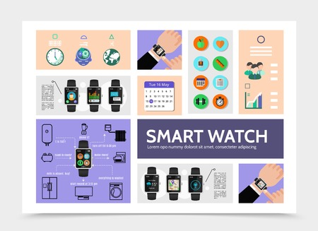 Flat smart watch modern infographic template with calendar weather fitness music navigation call chat applications and remote control of household appliances vector illustration