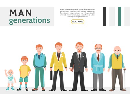 Flat people generation collection with steps of man ages from baby to pensioner isolated vector illustration