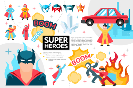 Flat superheroes infographic concept with super heroes in costumes and masks perform heroic actions speech bubbles fire cityscape crystal vector illustration Illustration