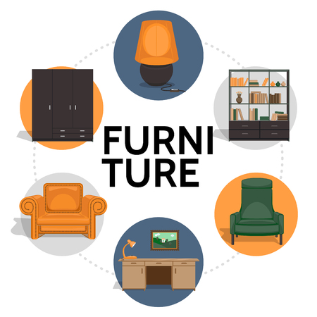 Flat furniture round concept with cupboard wardrobe lamp chair table picture armchair isolated vector illustration