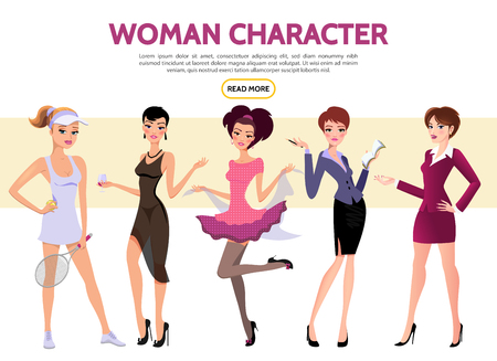 Flat woman characters set with sportswoman secretary businesswoman ladies wearing evening and casual dresses isolated vector illustration