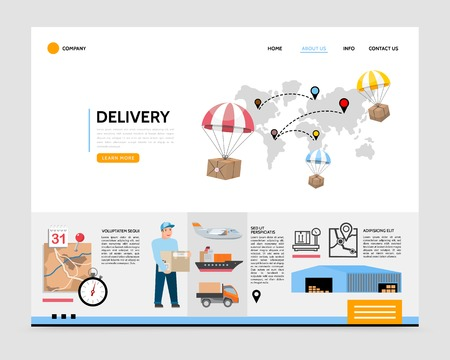 Flat delivery service landing page template with packages flying on parachutes calendar timer courier warehouse airplane ship truck vector illustration Illustration