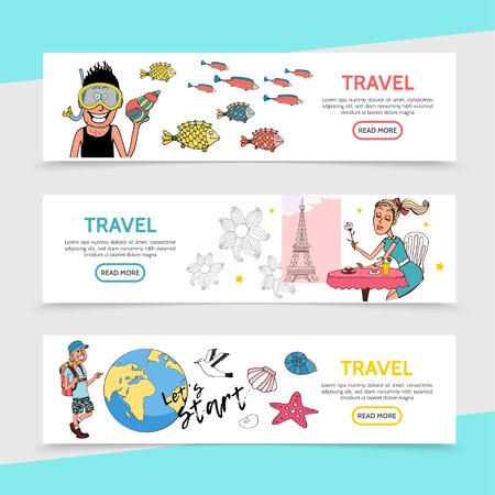 Flat travel horizontal banners with traveler diver romantic girl sitting at table in Paris happy tourist earth globe gull starfish shells vector illustration
