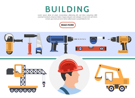 Flat building elements collection with builder crane excavator grinder hammer saw drill screwdriver level roulette isolated vector illustration Illustration