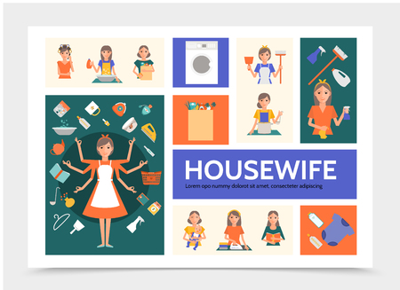 Flat housewife infographic template with cleaning washing ironing shopping cooking activities mother with baby and different household tools vector illustration