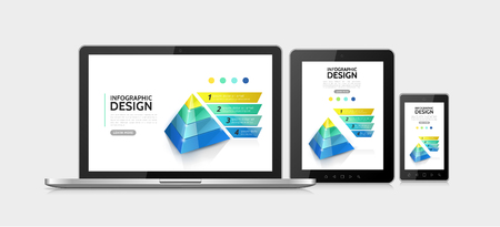 Realistic modern infographic elements concept with marketing 3d pyramid with four options adaptive for laptop mobile and tablet screens isolated vector illustration Illustration