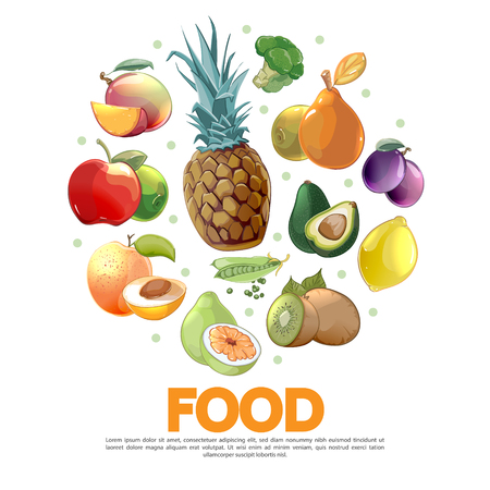 Cartoon fruits and vegetables concept with pineapple avocado pear plum lemon kiwi peas pomelo apricot broccoli peach apple isolated vector illustration