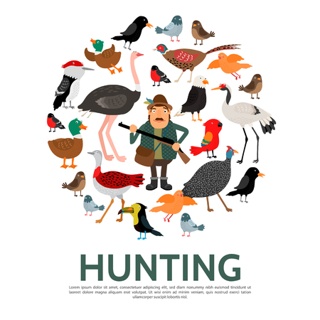 Flat hunting colorful round composition with hunter holding weapon and different beautiful birds isolated vector illustration