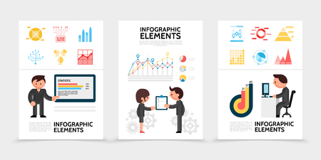 Flat infographic elements posters with diagrams charts man indicating on graph business people holding checklist businessman working on computer isolated vector illustration
