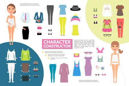 Flat woman character creation infographic concept with young girls business summer travel casual clothing footwear handbag sunglasses brooch isolated vector illustration
