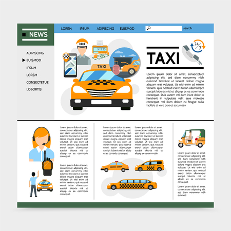 Flat taxi service website concept with cars cab tuk tuk operator driver passenger money meter vector illustration