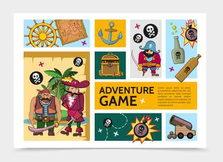 Cartoon adventure game infographic template with pirates steering wheel anchor bottles cannon bomb treasure chest tropical island map skull and crossbones vector illustration