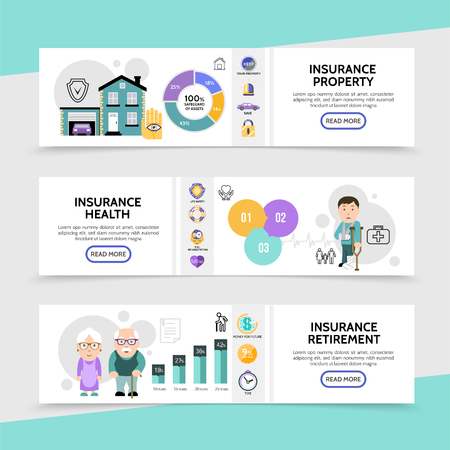 Flat insurance horizontal banners with diagrams graphs property protection health and retirement assurance elements vector illustration Illustration