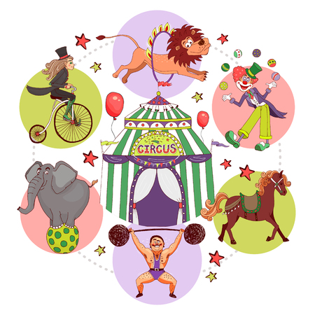 Flat circus round concept with tent strongman lifting barbell acrobat riding bicycle clown juggling balls lion horse elephant tricks isolated vector illustration