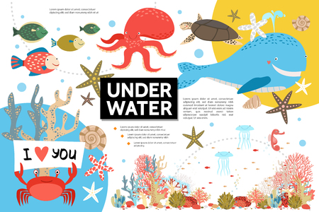 Flat underwater life infographic template with whale octopus turtle fish crab shells jellyfish sea horse seaweed vector illustration