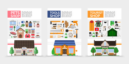 Flat stores posters with different products for sale in pets tools tourist shops isolated vector illustration Illustration