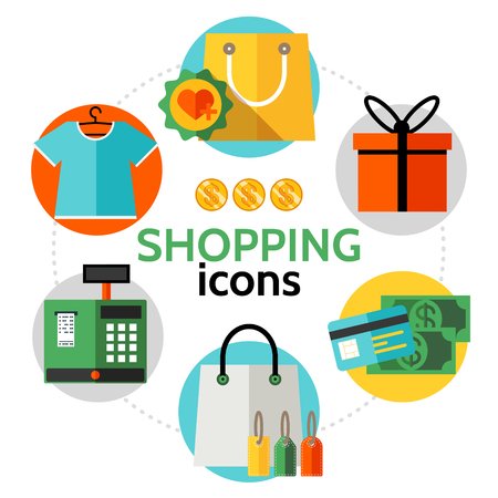 Flat shopping icons round concept with shirt bag present box payment card money cash register machine isolated vector illustration