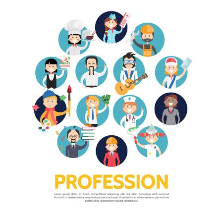 Flat profession avatars set with teacher engineer builder painter artist accountant doctor stylist musician postman chef waitress stewardess isolated vector illustration Illustration