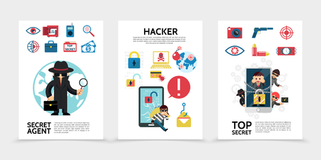 Flat hacking posters with hackers secret agent safe lock laptop dynamite camera money stealing pistol briefcase biometric security vector illustration