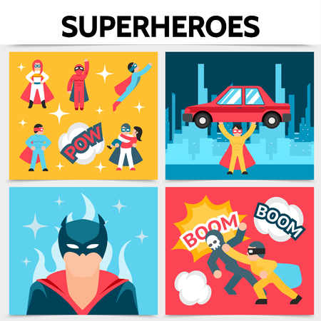Flat superheroes square concept with super heroes in costumes and masks perform heroic actions cityscape fire speech bubbles vector illustration