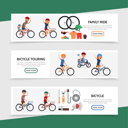 Flat bicycle colorful horizontal banners with different cyclists sportswear and bike parts vector illustration