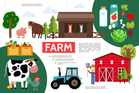 Flat farming and agriculture infographic template with animals farmer barn tractor trees milk juice crates of vegetables and fruits vector illustration Illustration